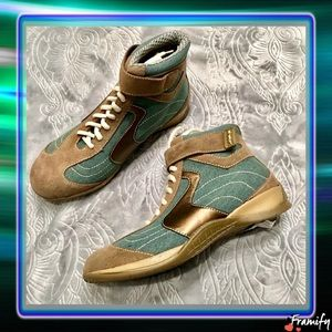 Shoes - Green & Brown Jean High Top Sneakers